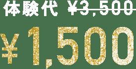 体験代 ¥3,500→¥1,500