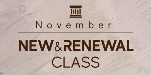11月〜New&Renewal Class Infomation